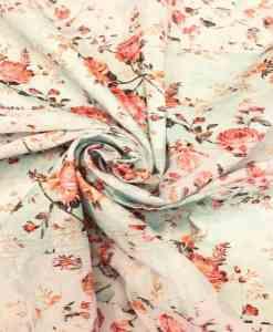 Broderie anglaise imprimé fleuris fond vert pâle rouge