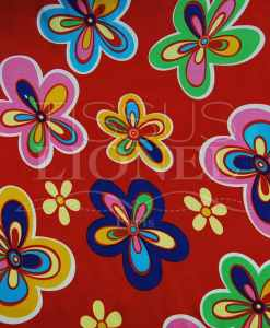 carnival colorful flowers on red background