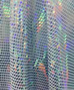 Élasthanne paillete hologramme blanc