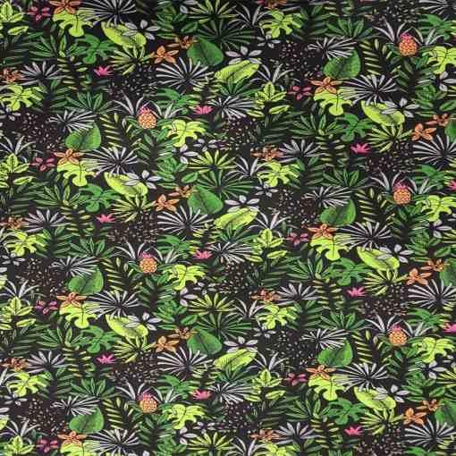 Coton motif tropicale vert et noir