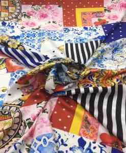 Satin de soie haute couture patchwork