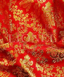 Lurex Jacquard-Rot und Gold