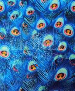 lycra imprimé pailleté plumes de pan bleu