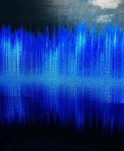 Lycra imprimé ondes sonore dégradé bleu