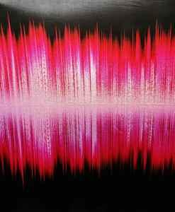 Lycra imprimé ondes sonore dégradé fuchsia