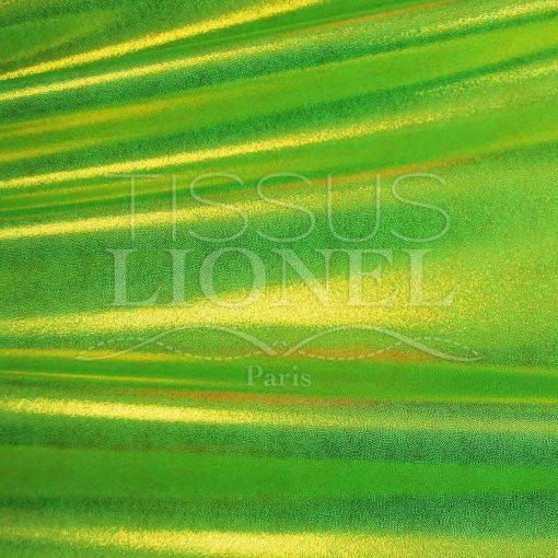 lycra pailleté multipoint fond vert fluo pailleté or