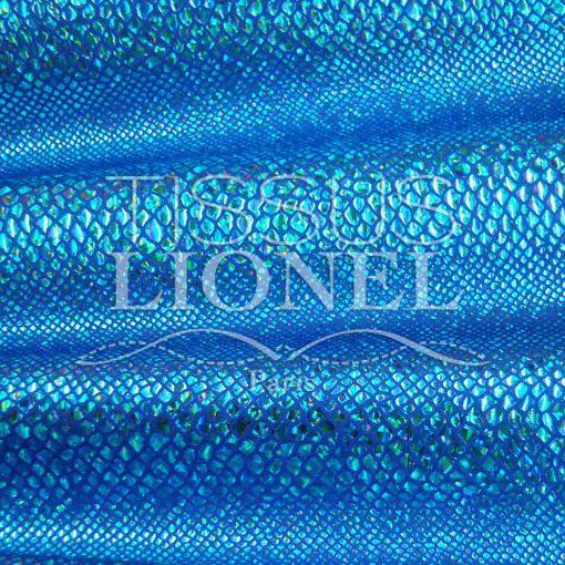 lycra pailleté serpent fond bleu pailleté turquoise hologramme