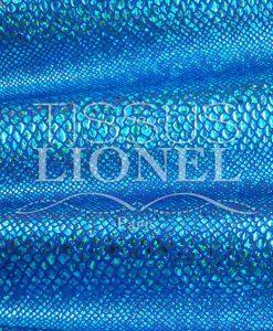 Lycra blauen Hintergrund Schlange glitzernde türkis Hologramm Pailletten