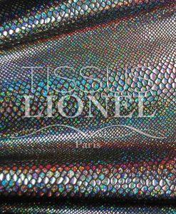 Lycra schwarzer Hintergrund Schlange schwarz Hologramm glitzernde Pailletten