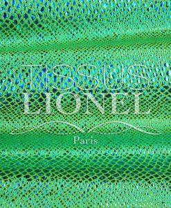 Lycra neon grünen Hintergrund Schlange glitzernde türkis Hologramm Pailletten