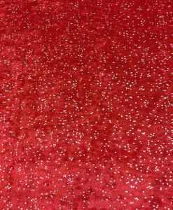 Lycra velours fond rouge pailleté argent
