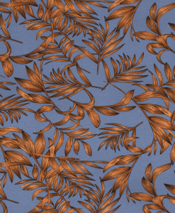 Tissu mélange polyester imprimé feuilles indigo