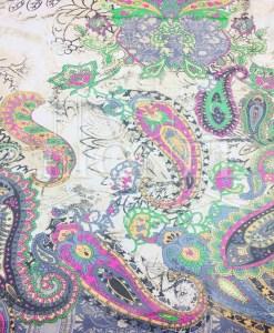 Mousseline de soie motif Paisley multicolors vert d'âtre