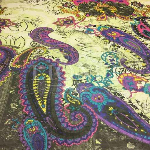 Mousseline de soie motif Paisley vert d'âtre