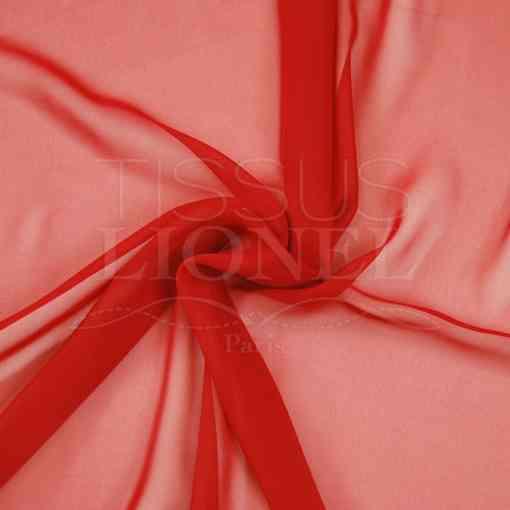 mousseline uni rouge vermillon