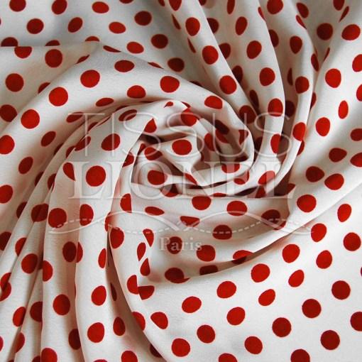 polyester imprimé fond blanc pois rouge