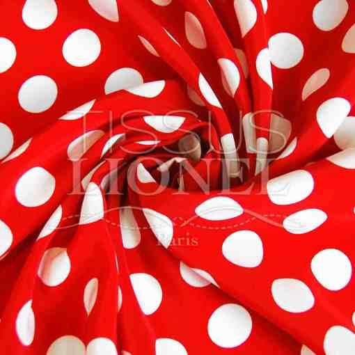 polyester imprimé fond rouge gros pois blanc