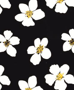 Satin de coton imprimé fleuris noir