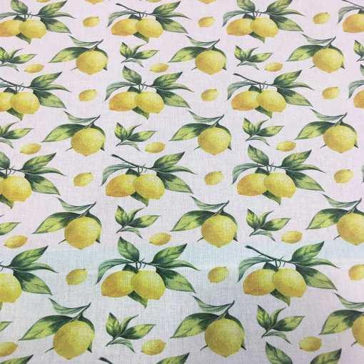 Tissu coton citron