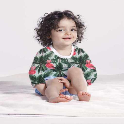 Tissu coton flamant rose palmier