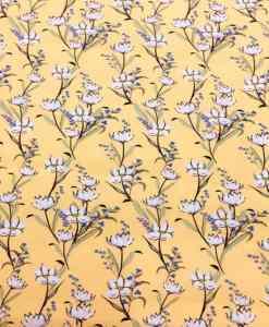 Tissu coton fleuris marguerite jaune 2