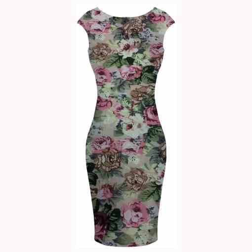 Tissu coton imprimé fleuris rose sur fond rose