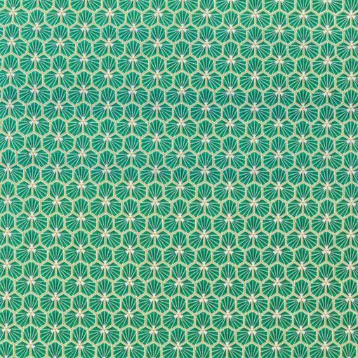 Tissu coton imprimé motif fradji vert