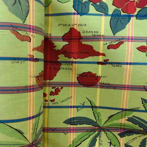 Tissu coton madras marie galante vert anis