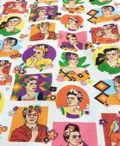 Tela de algodón patrón impreso Frida Kahlo