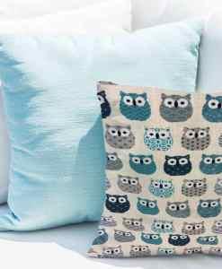 Tissu coton motif imprimé Hibou beige