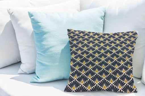 Tissu coton motif imprimé Paon beige et bleu fonce coussin