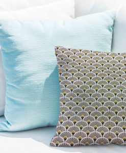 Tissu coton motif imprimé Paon beige et or
