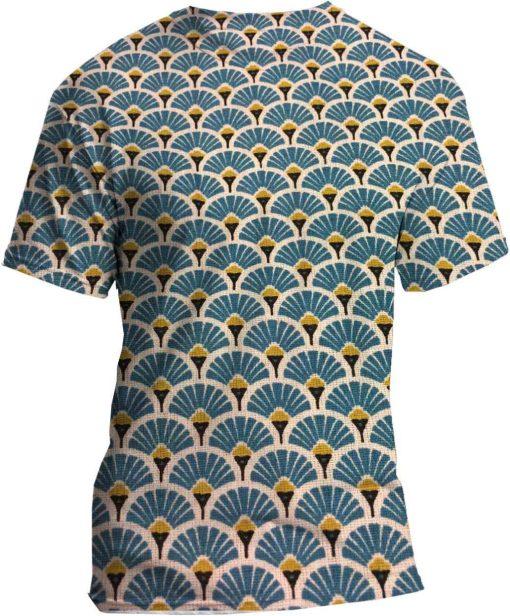 Tissu coton motif imprimé Paon bleu clair et or tshirt