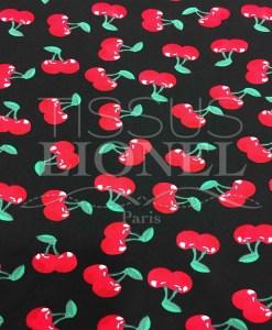 Черная хлопчатобумажная ткань набивного рисунок вишни