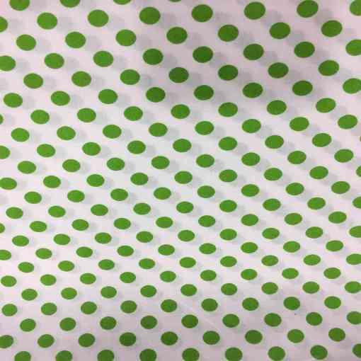 Tissu coton petit pois anis sur fond blanc