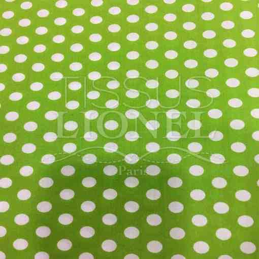 Tissu coton petit pois blanc sur fond anis