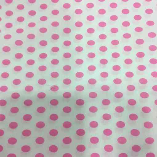 Tissu coton petit pois rose sur fond blanc