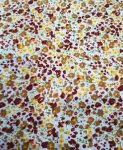 Tissu coton petite fleurs bordeaux et jaune sur fond blanc
