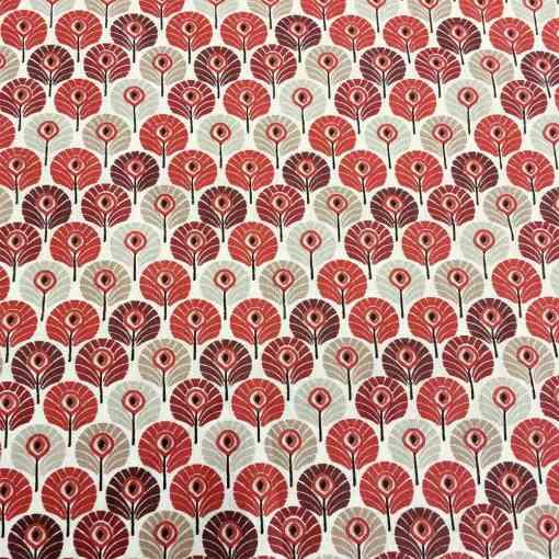 Tissu coton plumes rouge
