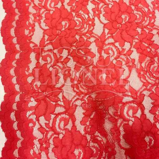 Tissu dentelle couture festonnée corail