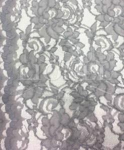 Tissu dentelle couture festonnée gris