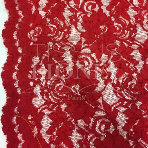 Tissu dentelle couture festonnée rouge