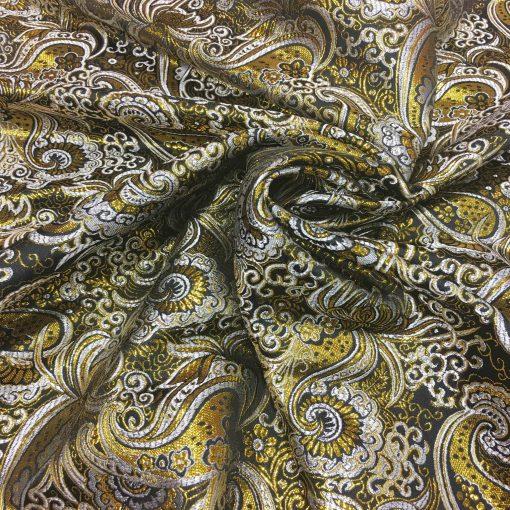 Tissu jacquard lurex noir et or 2