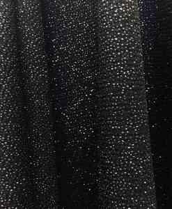 zwarte polyester jersey glittery zilver