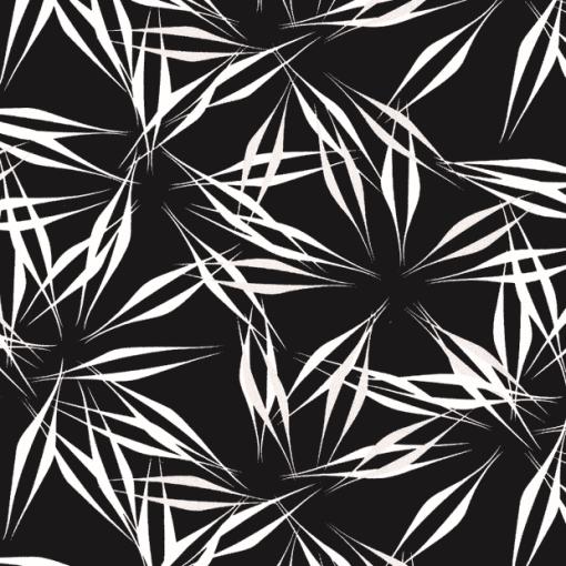 Tissu lin viscose imprimé feuilles noir 2
