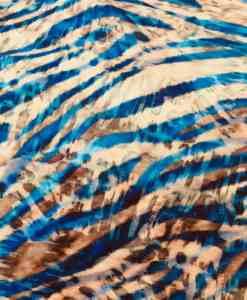 Tissu lin viscose imprimé zébré turquoise