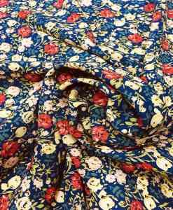 Tissu microfibre motif jardin printanier bleu