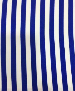 Tissu polyester Burlington blanc rayure bleu