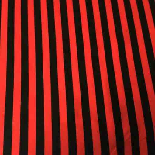 Tissu polyester Burlington rouge rayure noir