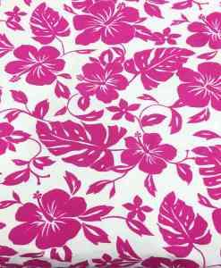 Tissu popeline de coton hawaï fuschia